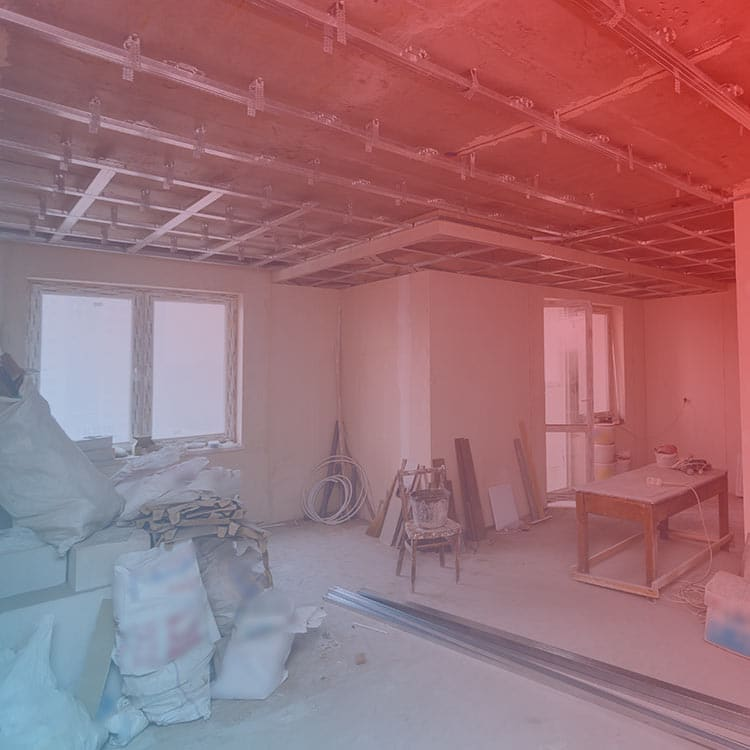 Construction renovation project requiring demolition and waste removal